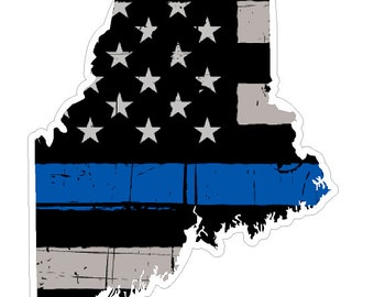 Maine State (V20) Thin Blue Line Vinyl Decal Sticker Car/Truck Laptop/Netbook Window