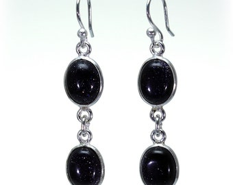 Blue Goldstone Earrings, 925 Sterling Silver, Unique only 1 piece available! color black, weight 3.8g, #24240