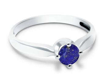 Lapis Lazuli Ring, 925 Sterling Silver. SIZE 6.50 (inner diameter 18mm), color navy blue, weight 2g, #44653
