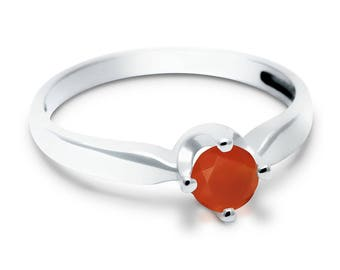 Carnelian Ring, 925 Sterling Silver. SIZE 6.50 (inner diameter 18mm), color orange, weight 2g, #44644