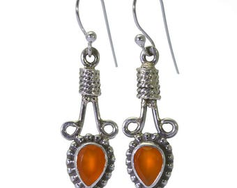 Carnelian Earrings, 925 Sterling Silver, Unique only 1 piece available! color orange, weight 3.6g, #40225
