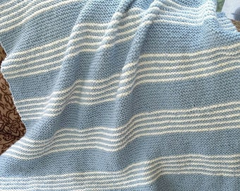 Stylish Stripes blue baby knit afghan
