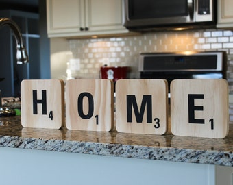 Handmade Large Scrabble Tiles. Wall Decor