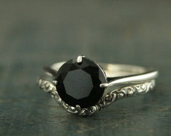 Sterling Silver Bridal Set--Vintage Style Ring--Antique Style Engagement Ring--Faux Black Diamond Ring--Onyx Ring--Unique Engagement Ring