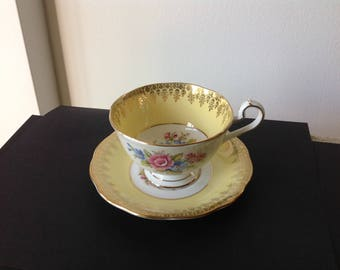 Queen Anne Teacup Gold and Yellow