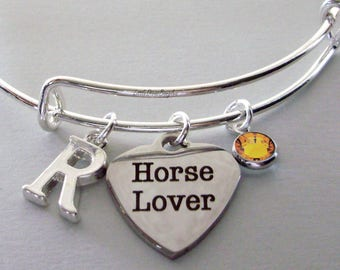 HORSE Lover CHARM BRACELET /  Bangle W/ Birthstone & Initial Horse Jewelry /  Horse lovers Gifts / Gift For Her Under 20 30 - Usa GD1