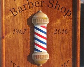 Wood Barber Shop Decor- Barber Shop Art- Barber Shop Gift Sign- BarberPole