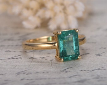 Emerald Engagement Ring Emerald Cut Ring 14K Yellow Gold Emerald Ring May Birthstone Ring