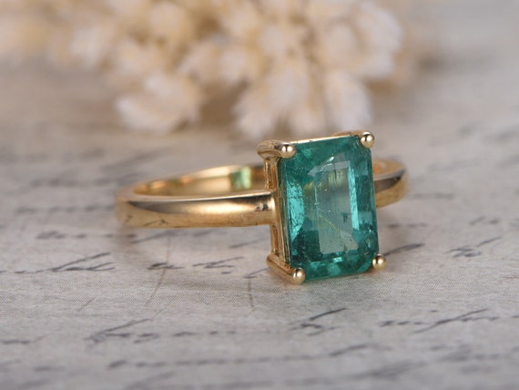 Emerald Engagement Ring Emerald Cut Ring 14k Yellow Gold