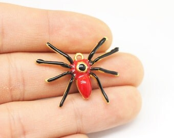 1/5 pcs Red spider pendant - gold plated - 24x32mm - spider charm - tarantula pendant - gold plated spider