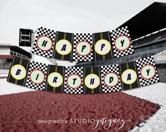 "Little Racer Printable Birthday Banner, 5"" x 7"" Printable Pendants, Race Car Birthday Banner, Checkered Flag Birthday Banner"
