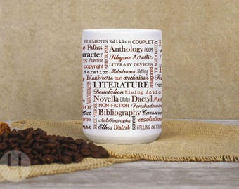 Literature Typographic Large Mug. Coffee and Tea Mug. Gift for the literature lover. Gift for teachers and book lovers.