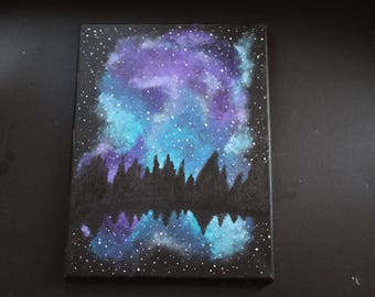 Night Galaxy Over The Lake *HAND PAINTED*