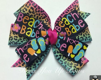 """3.5"""" Beach Babe hair bow - flip flop popsicle ombre cheetah leopard ribbon pool party hair bow clip baby toddler teen summer birthday party"""