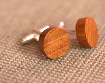 WOODEN CUFFLINKS, Cherry wood cufflinks,