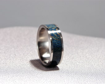 Blue Sycamore Inlay and Titanium Ring, Dyed blue wood ring, Sycamore ring, Stabilized and dyed Sycamore ring, Wedding band