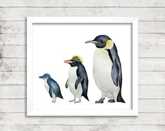 Penguin Watercolor Print. Watercolor Penguin Art Print. Fine Art Print. Penguin Art. Nursery Decor. Kids Room Decor.