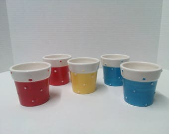 Planter Pots Votive Candle Holders Red - Blue and Yellow  Flower Pots Set of 5