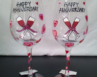 Happy Anniversary Wine Glass - Set of 2 Gift Boxed Hand Painted Wine Glass Direct Connection DCI