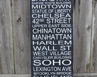 New York City Street Sign Typography Wall Subway Art