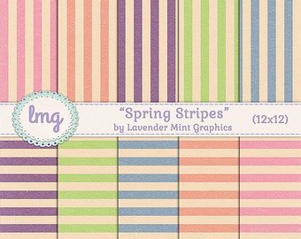 "Spring Digital Scrapbook Paper - ""Spring Stripes - Vintage, Shabby Chic, Ephemera, Invitation Paper, 12x12, Instant Download, Commercial Use"