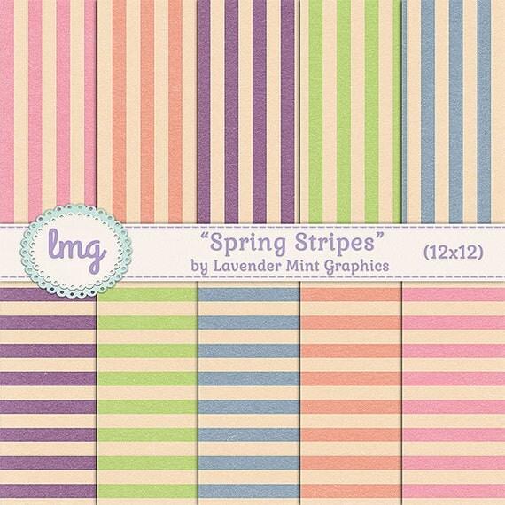 "Spring Digital Scrapbook Paper - ""Spring Stripes - Vintage, Shabby Chic, Ephemera, Invitation Paper, 12x12, Instant Download, Commercial Use"
