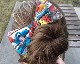 Marvel Comic Book Hair Bow, Avengers Hair Clip, Captain America, Iron Man, Hulk, Thor, Spiderman, Infinity War, Geek, Dapper On Arrival
