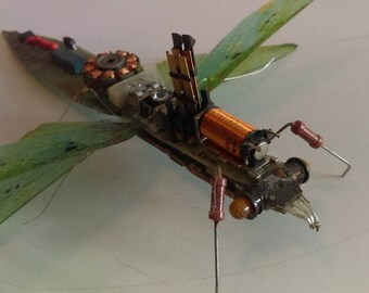 Recycled art electronic pray mantis sculpture