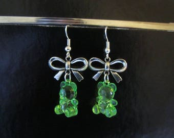 Earrings - sweet green gummibears