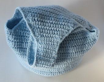 Light Blue Hobo Bag, Crochet Hobo Bag, Large Bag, Beach Bag, Crochet Purse, Hobo Style Bag, Tote, Gift For Her, Ready To Ship