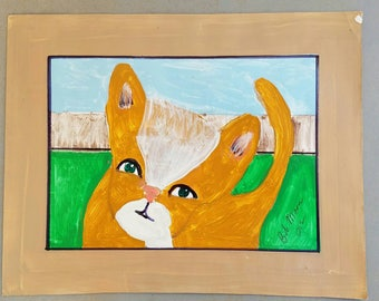 Sweet Kitty Cat Hand Draw and Painted on Paper