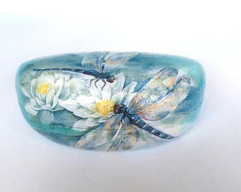 Hard sunglasses case with dragonfly, metal glasses case,hard storage box, shabby chic,water lily,decoupage,summer gift for her,handmade gift