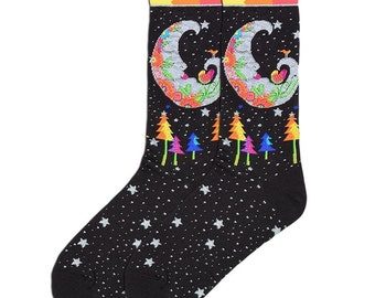 Laurel Burch Art Socks,Designer,Mystic Moon,Silver Moon,Cotton Blend,Gift for Women, Art Teachers,Teachers,Celestrial Gift,Art Socks