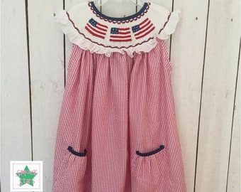 Smocked Flag Dress, Girls Dresses, Fourth of July dress