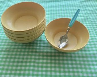 Vintage Tupperware Harvest Gold Cereal Bowls Set of 6