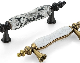 3.0u0027u0027 Ceramic Knobs Dresser Knobs Pulls Drawer Pull Handles Black Antique  Bronze Rustic Kitchen