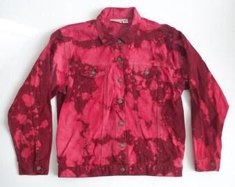 DENIM maroon tie DYED jean jacket