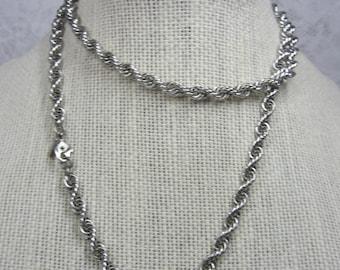 Vintage Monet Long Silver Tone Rope Chain - excellent condition
