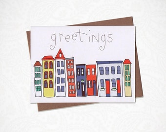 Greetings Skyline Greeting Card
