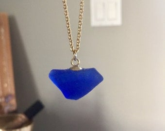 Long Beach, NY Blue Sea Glass Necklace