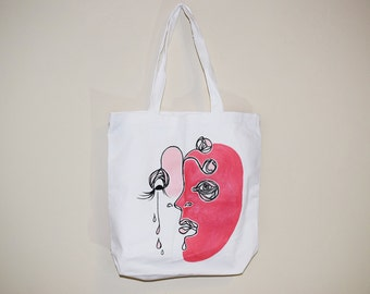 Hand-painted Abstract FIGURATIVE Face Tote