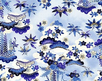 Indigo Essence Floral Bamboo  Cotton Fabric RJR Asian By the Yard