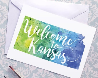 Kansas Watercolor Map Greeting Card, Welcome to Kansas Hand Lettered Text, Gift or Postcard, Giclée Print, Map Art, Choose from 5 Colors