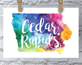 Custom Iowa Map Art, Iowa Watercolor Heart Map Home Decor, Cedar Rapids or Your City Hand Lettering, Personalized Giclee Print, 5 Colors