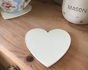 Hand Painted Wooden Heart Coaster