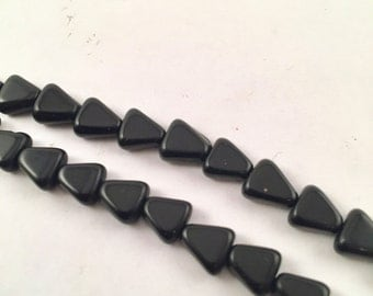 Beads, Black Beads, Black Glass Beads, Black Triangle Beads, 7mm Black Triangle Beads, 7mm Triangles