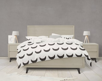 Black and white crescent moon duvet cover