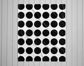 Black and white dot pattern modern throw blanket with white back