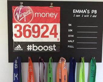 PB Medal Holder. Blackboard background for PB. I can, I will I did.