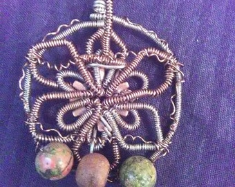 Unique Unakite Wire Wrapped Flower Pendant
